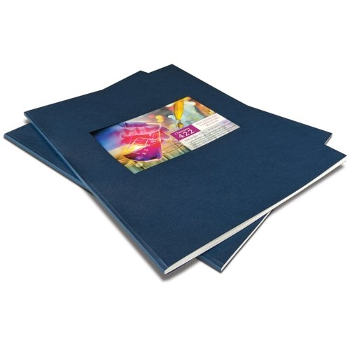 "Coverbind 2"" Wrap-Around Navy Linen Thermal Binding Covers w/ Window - 20pk (08CBLW200NAVY) Image 1"