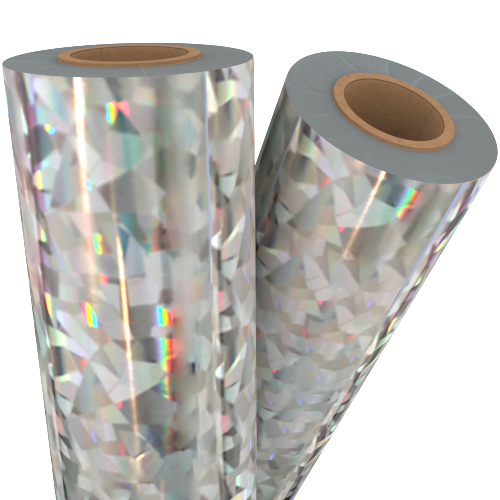 "Cracked Ice Silver Holographic 24"" x 500' Laminating / Toner Fusing Foil (FF-SP-170-24) Image 1"