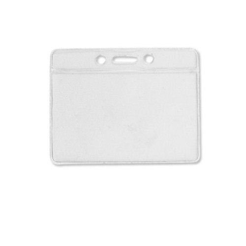 Credit Card Size Horizontal Clear Vinyl Badge Holders w/ Holes - 100pk (1815-1000)