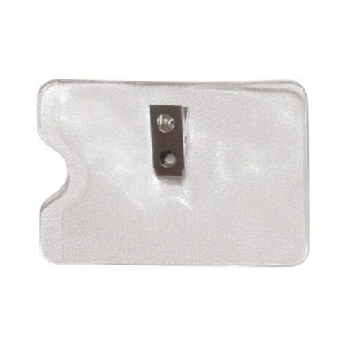 Credit Card Size Horizontal Side Load Badge Holders w/ Clips - 100pk (1810-1100)