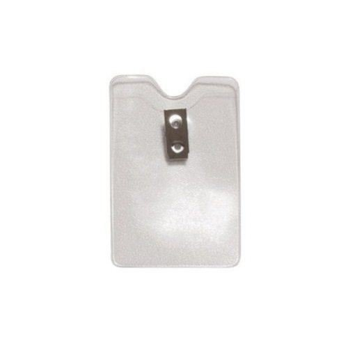 Credit Card Size Vertical Clear Vinyl Badge Holders w/ Clips - 100pk (1810-1200) Image 1