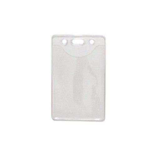 Credit Card Size Vertical Clear Vinyl Badge Holders w/ Holes - 100pk (1815-1100)