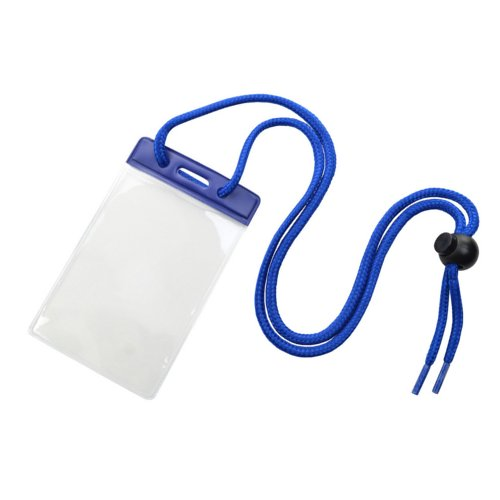 Credit Card Size Vinyl Vertical Badge Holder with Blue Top Bar and Neck Cord - 100pk (1860-2702) Image 1