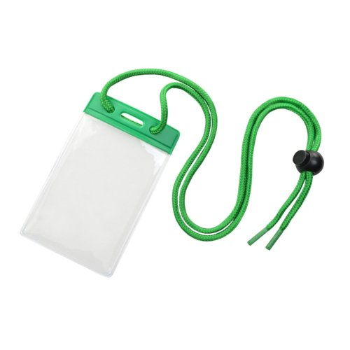Credit Card Size Vinyl Vertical Badge Holder with Green Top Bar and Neck Cord - 100pk (1860-2704) Image 1