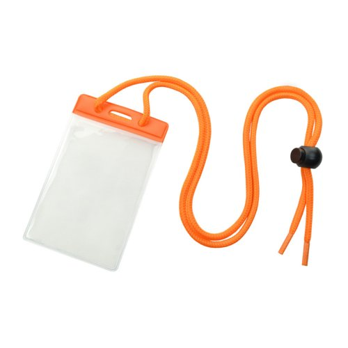 Credit Card Size Vinyl Vertical Badge Holder with Orange Top Bar and Neck Cord - 100pk (1860-2705), Id Supplies Image 1
