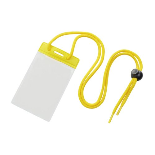 Credit Card Size Vinyl Vertical Badge Holder with Yellow Top Bar and Neck Cord - 100pk (1860-2709), Id Supplies Image 1
