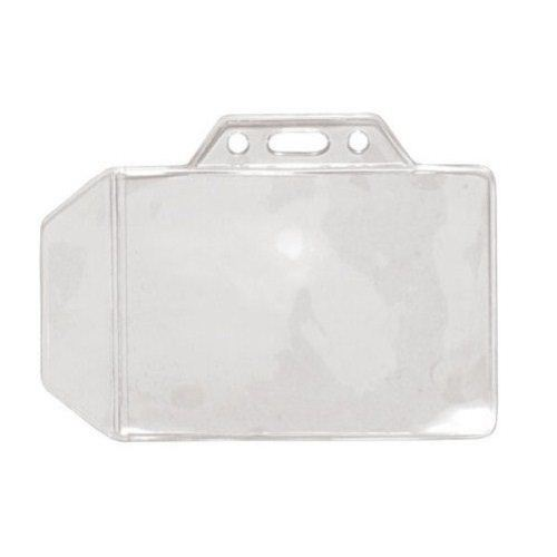 Credit Size Horizontal Side Clear Vinyl Badge Holder w/ Flap - 100pk (1840-1000) Image 1