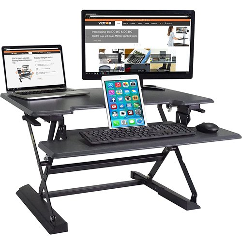 Victor Technology High Rise Height Adjustable Standing Desk with Keyboard Tray (Black) (DCX710) Image 1