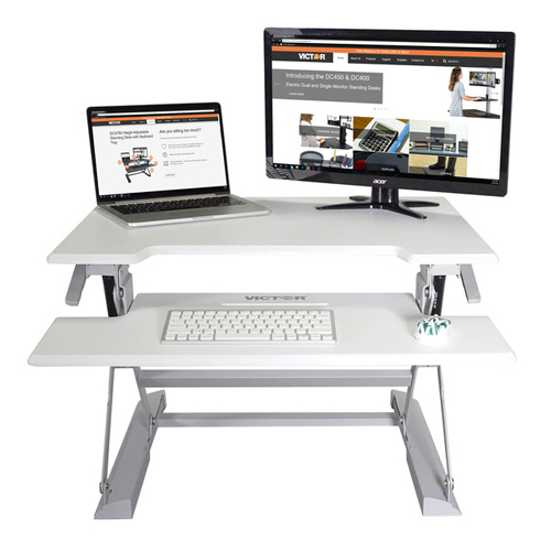 Victor Technology High Rise Height Adjustable Standing Desk with Keyboard Tray (White) (DCX710W) Image 1