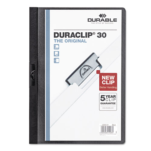 Durable Clear/Black DuraClip Report Cover (30 sheets) (DBL-2203-BK) Image 1