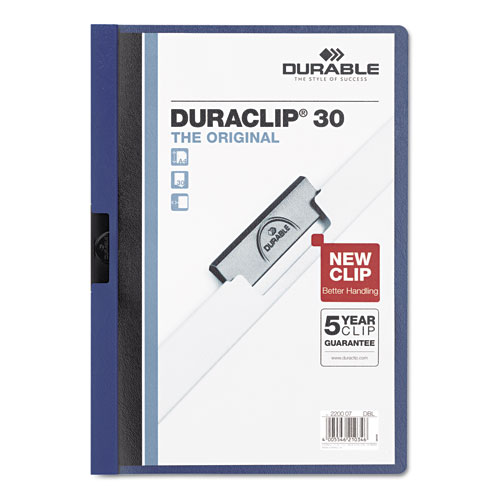 Durable Clear/Dark Blue DuraClip Report Cover (30 sheets) (DBL-2203-DB) Image 1