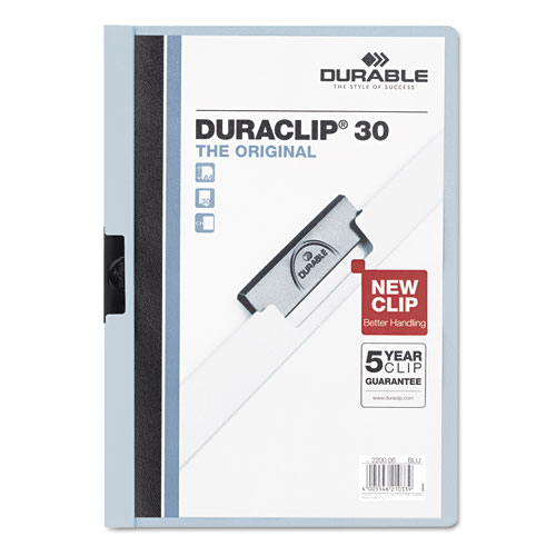Durable Clear/Light Blue DuraClip Report Cover (30 sheets) (DBL-2203-BE) Image 1
