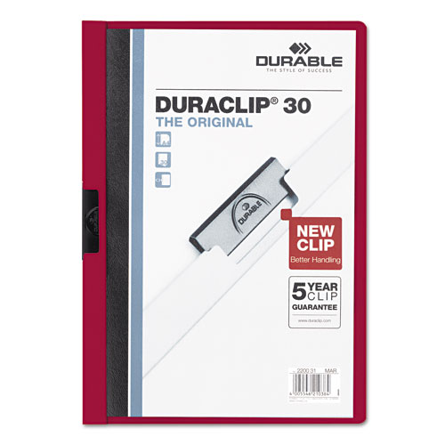 Durable Clear/Maroon DuraClip Report Cover (30 Sheets) (DBL-2203-MN) Image 1