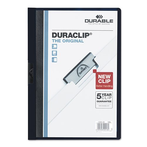 Durable Clear/Navy Blue DuraClip Report Cover (30 sheets) (DBL-2203-NB) Image 1