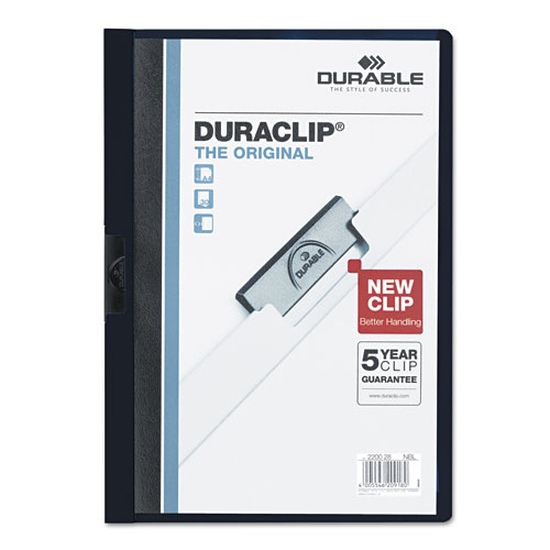 Durable Clear/Navy Blue DuraClip Report Cover (30 sheets) (DBL-2203-NB) - $2.39 Image 1