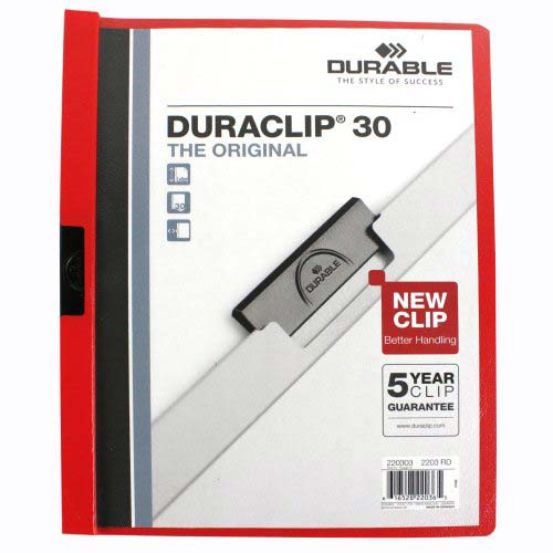 Durable Clear/Red DuraClip Report Cover (30 Sheets) (DBL-2203-RD) Image 1