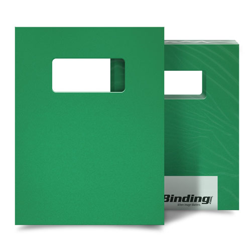"Emerald 16mil Sand Poly 9"" x 11"" Binding Covers with Windows - 25 Sets (MYMP169X11EMW) Image 1"