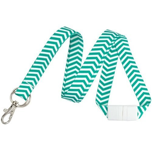 Emerald and White ZigZag Pattern Fashion Lanyard with Trigger Hook and Split Ring - 10pk (2138-6284) Image 1