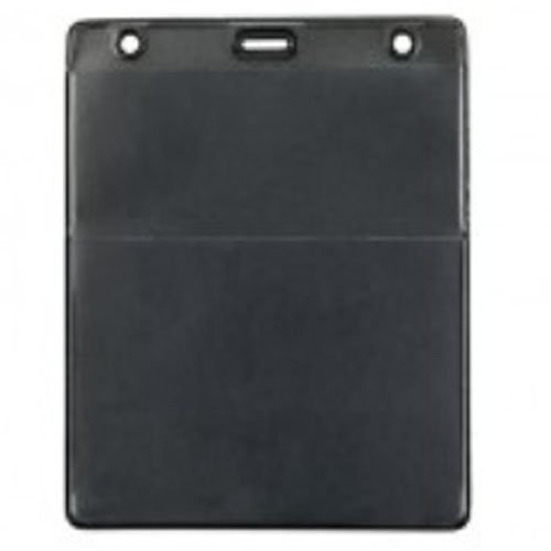 Black Vertical Event Vinyl Credential Wallet with Slot and Chain Holes - 100pk (1860-4001) Image 1