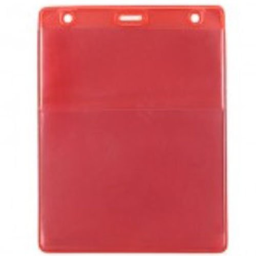 Red Vertical Event Vinyl Credential Wallet with Slot and Chain Holes - 100pk (1860-4006), Id Supplies Image 1