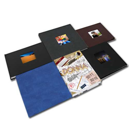 "Powis Parker Fastback Blue Suede 8"" x 10"" Landscape Hard Covers with Window (1/2"" Spine B) - 25pk (204897) Image 1"