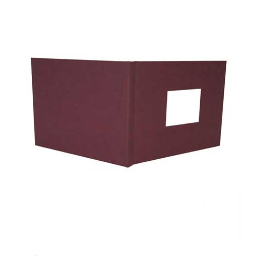 "Powis Parker Fastback Maroon Suede 8"" x 12"" Landscape Hard Covers with Window (3/4"" Spine C) - 25pk (HBSMC-LJ) Image 1"