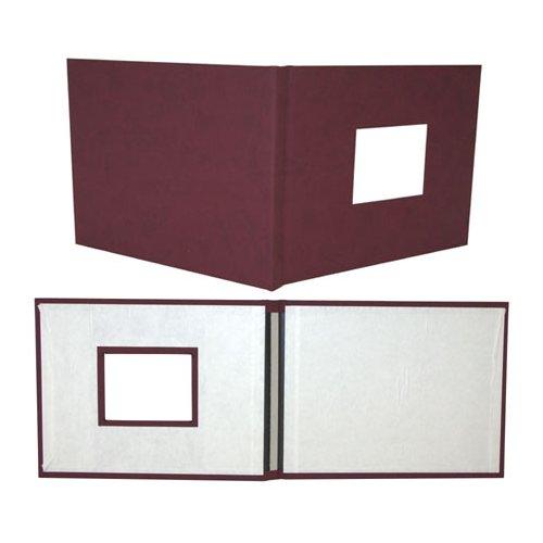"""Powis Parker Fastback Maroon Suede 8"""" x 12"""" Landscape Hard Covers w/ Window (HBSM-LJ) - $228.29 Image 1"""