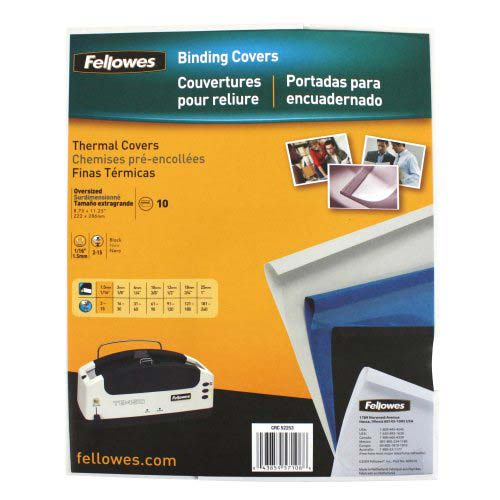 "Fellowes 1/16"" Black Linen Thermal Binding Covers 10pk (5225301) Image 1"