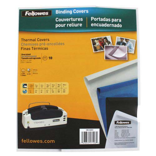 "Fellowes 1/16"" Gloss White Thermal Binding Covers 10pk (5225101) Image 1"
