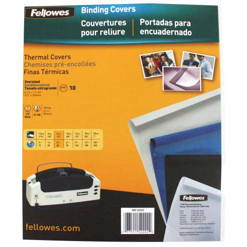 "Fellowes 1/4"" Gloss White Thermal Binding Covers 10pk (52222) - $14.69 Image 1"