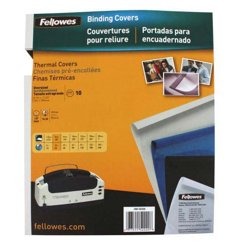 "Fellowes 1/8"" Gloss White Thermal Binding Covers 10pk (52220) Image 1"