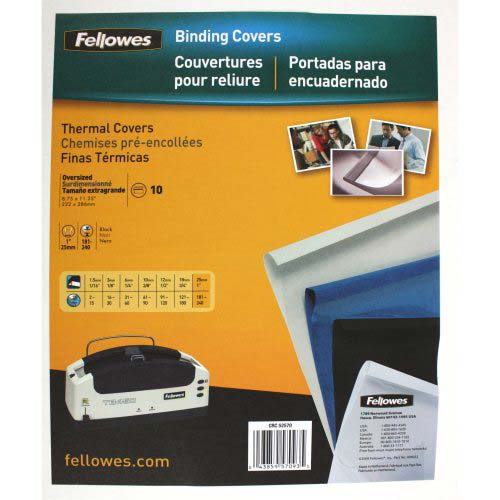"Fellowes 1"" Black Linen Thermal Binding Covers 10pk (5257001) Image 1"