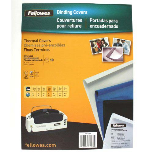 "Fellowes 3/8"" Black Linen Thermal Binding Covers 10pk (5256101) Image 1"