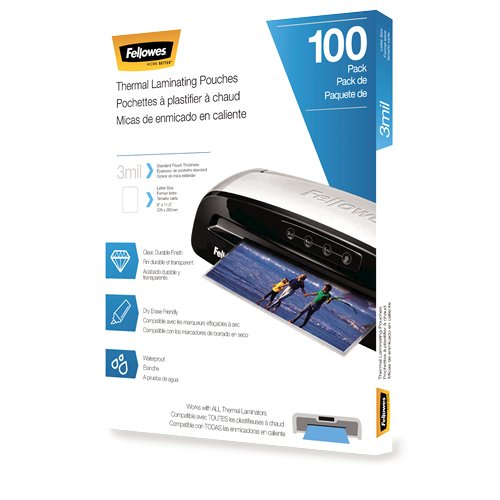 Fellowes 3mil Letter Size Thermal Laminating Pouches 100pk (5743301) Image 1