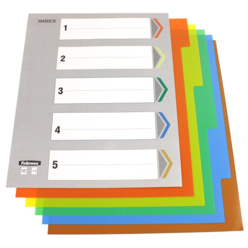 Fellowes 5-Tab Un-Punched Color Coded Index Tabs (5261501) Image 1
