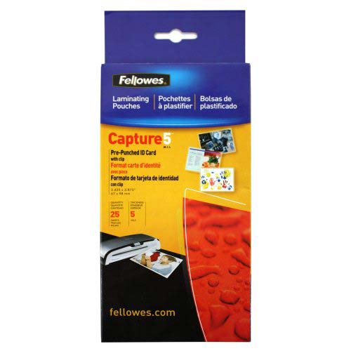 Fellowes 5mil ID Card Pouches with Slots and Clips 25pk (52033) Image 1
