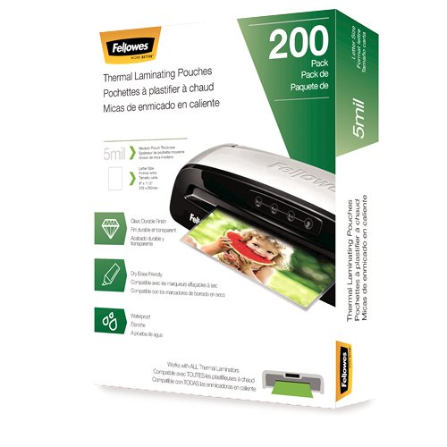 Fellowes 5mil Letter Size Thermal Laminating Pouches 200pk (5743601), Pouches Image 1