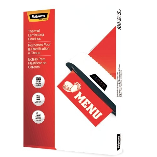 Fellowes 5mil Menu Size Thermal Laminating Pouches - 100pk (5746001) Image 1