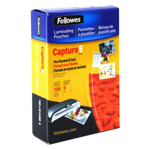 Fellowes 5mil Punched ID Card Laminating Pouches 100pk (52016) Image 1