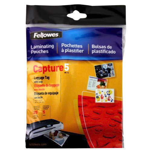 Fellowes 5mil Punched Luggage Tag Pouches with Loops 25pk (52003) Image 1