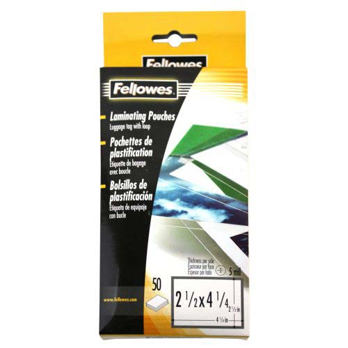 Fellowes 5mil Punched Luggage Tag Pouches with Loops 50pk (52034) Image 1