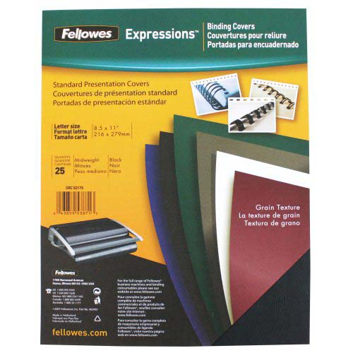 Fellowes Black Grain Letter Size Binding Covers 25pk (5217501) Image 1