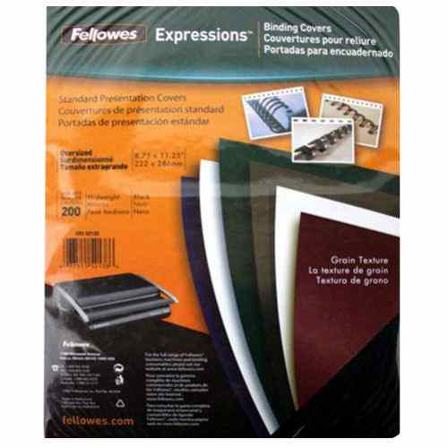 Fellowes Black Grain Oversize Binding Covers 200pk (52138) Image 1