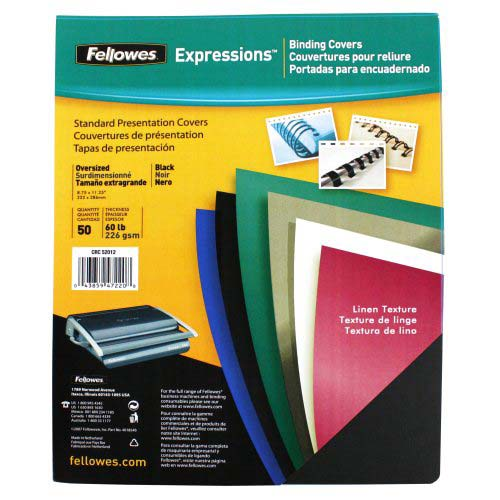Fellowes Black Linen Binding Covers (FELLCBK) Image 1