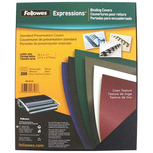 Fellowes Black Linen Letter Size Binding Covers 200pk (5217001) Image 1