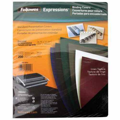 Fellowes Black Linen Oversize Binding Covers 200pk (52115) Image 1