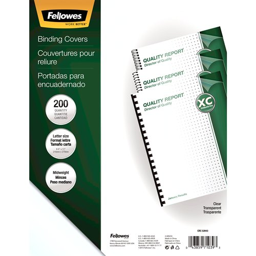 Fellowes Crystals Clear Letter Size Binding Covers 200pk (5204303) Image 1