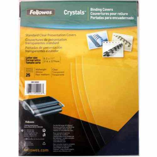 Fellowes Crystals Clear Letter Size Binding Covers 25pk (52043) Image 1
