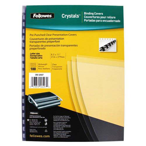 Fellowes Crystals Clear Letter Size Pre-Punched Covers 100pk (5293701) Image 1