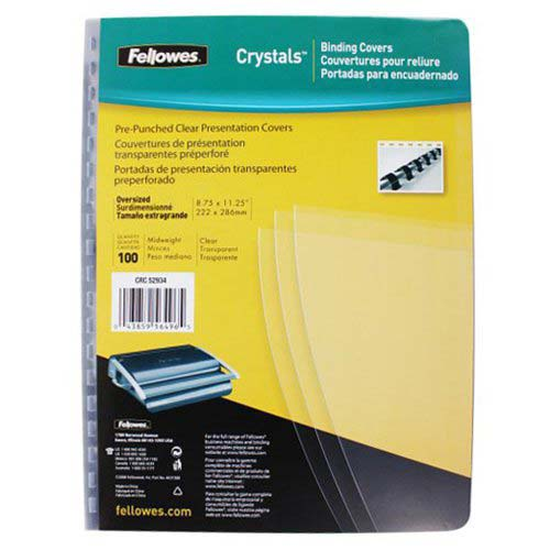 Fellowes Crystals Clear Oversize Pre-Punched Covers 100pk (5293401) Image 1